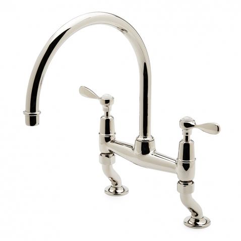 easton classic two hole bridge gooseneck kitchen faucet
