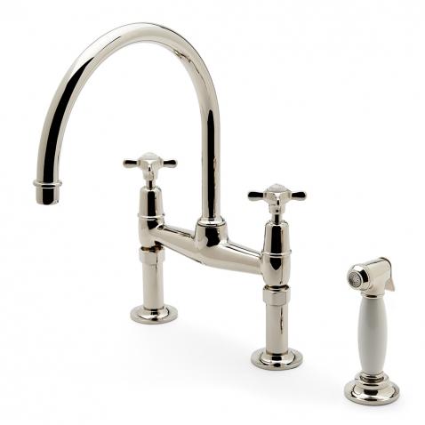 easton classic two hole bridge kitchen faucet metal cross