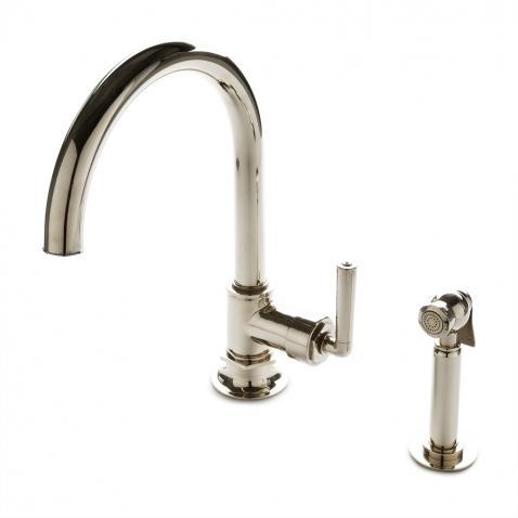 henry one hole gooseneck kitchen faucet metal lever
