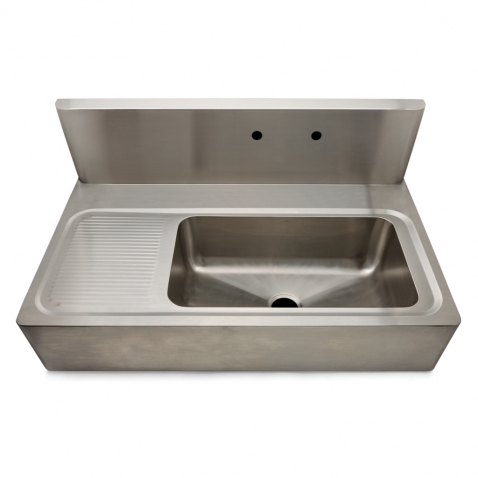 Kitchen Sink Backsplash : ... Steel Farmhouse Apron Kitchen Sink with Center Drain, Backsplash